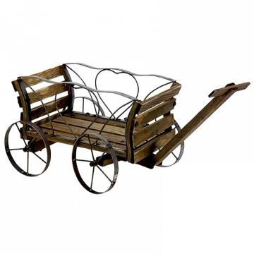 Carro de madera y forja para decorar  tu jardín con tus platas