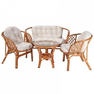 CONJUNTO DE RATTAN COLOR NATURAL CON COLCHONETAS COLOR CRUDO