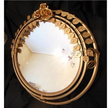 Espejo vintage dorado hojas y rosas 59x59cm( también como lámpara)