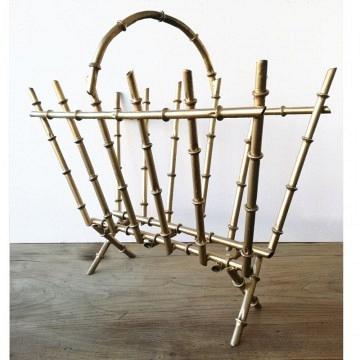 Revistero metal hierro dorado falso bambu