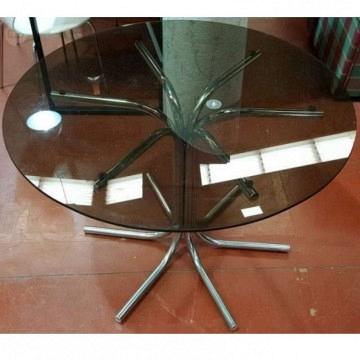 Mesa vintage cristal y cromado