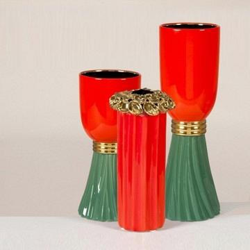 Lote 3 jarrones de porcelana coral verde y dorado