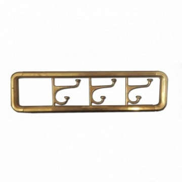 Midcentury / Art Deco Brass Foldable Wall Coat Rack, 1940s