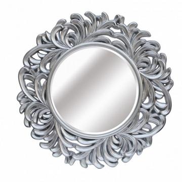 Espejo redondo plata hojas grande