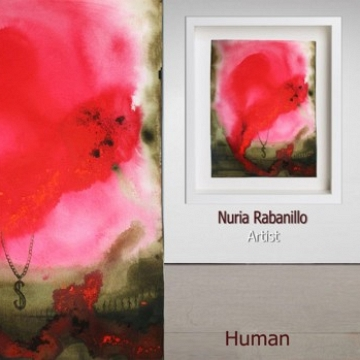 Human 048 Acrylic on paper painted by the New York Based Visual artist Nuria Rabanillo