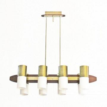 Lámpara dorada de techo con 8 luces - Italia 60s