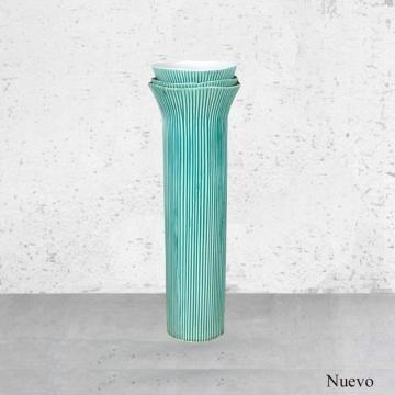 Jarrón verde agua alto de cerámica 51x17 cm