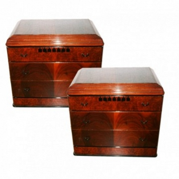 Italian Midcentury / Art Deco Pair of Nightstands with Three Drawers