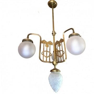 lámpara de techo Art deco francesa con 3 brazos y 4 luces