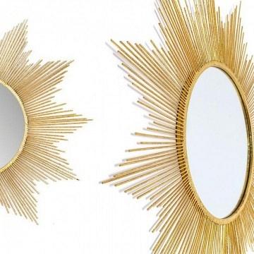 Espejo sol metal dorado  estilo vintage 84x84 cm