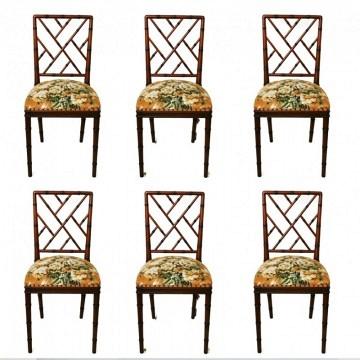 Lote de 6 sillas  falso Bambú estilo Chippendale