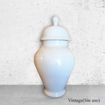 Tibor de porcelana blanca española 35-20 cm