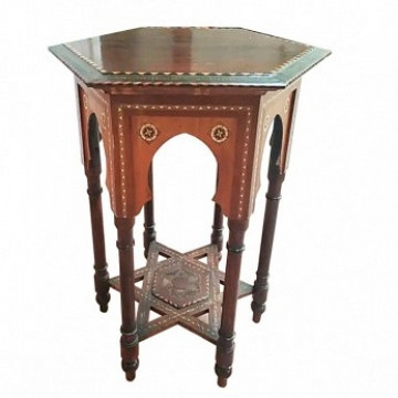 Inlaid Side Table, from Granada, Spain, 19th Century