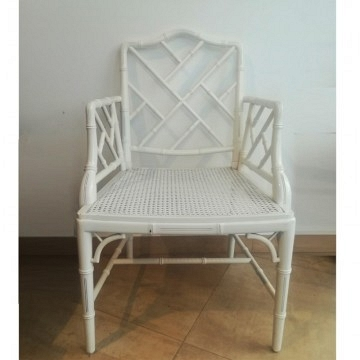 Chair /armchair chippendale chinoiserie vintage 60's  or  70's wood and lacquered in white