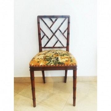Lote de 6 sillas de caoba falso Bambú estilo Chippendale