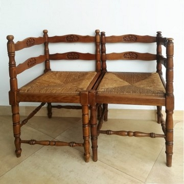 Pair two Fench corner chairs