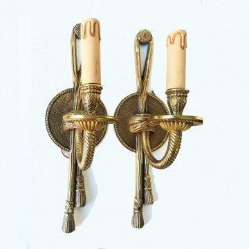 Pair of French Louis XVI style (20th Cent) bronze dore 1 arm wall sconces