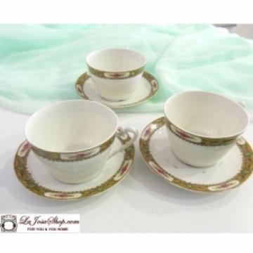 3 tazas de cafe  con plato de Porcelana de Limoges.Con historia