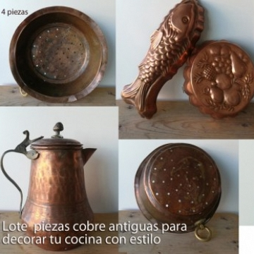 Lot antique copper Molds tea pot and strainer