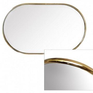 Espejo minimalista ovalado vintage aluminio dorado