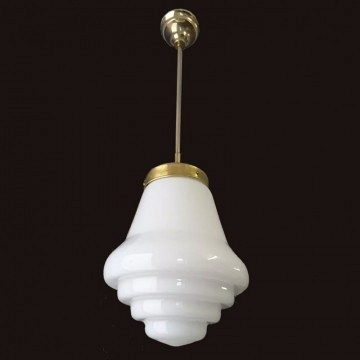 White opaline pendant lamp Art Deco