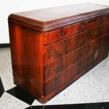 Midcentury/Art Deco Dresser With 9 Drawers in Solid Wood