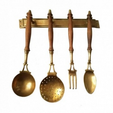Kitchen Utensils Made of Brass with from a Hanging Bar, Early 20th Century