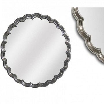 Espejo redondo plata brillo