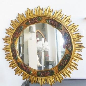 Espejo sol madera Art deco con pan de oro