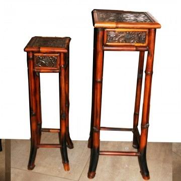 Mesas Estilo Chippendale de Bambú Encastrables con Cajón ,lote 2