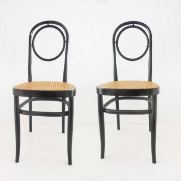 Duo de sillas estilo Thonet   color negro ebanizado