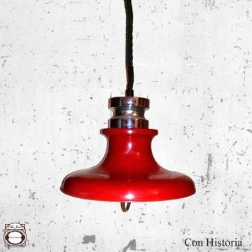 Lampara industrial techo rojo vintage 42 cm