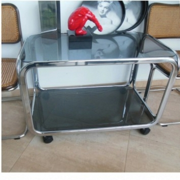 Vintage Modern Chromed and Smoked Glass Bar Cart