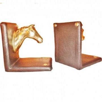 Set dos Sujetaliblos de piel y caballo de  bronce