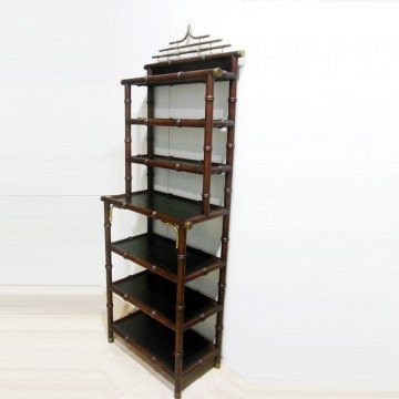 Shelving Hollywood Regency faux bamboo