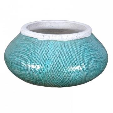 Jarrón jardinera cerámica azul agua