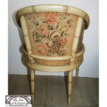 Rare Club armchair with Faux Bamboo Frame and Caning