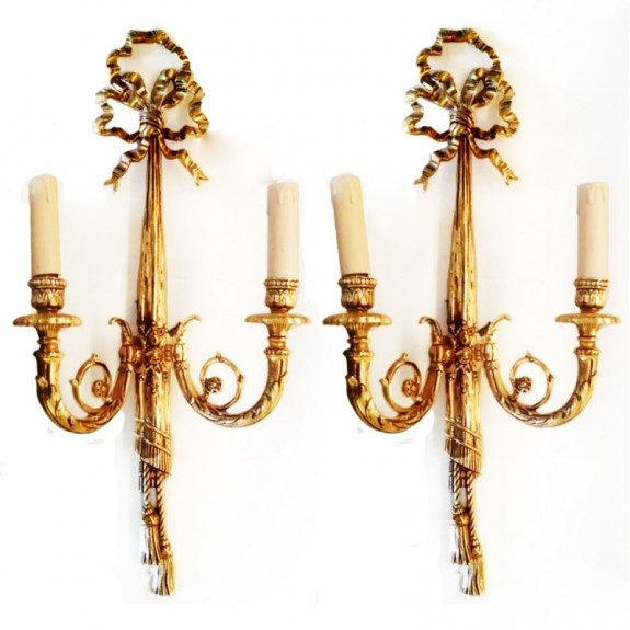 Elegant pair of Neoclassical bronze Two-Arm Wall Sconces