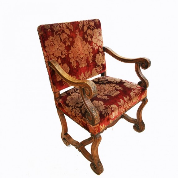 French Out Throne Armchair Antique, Louis XIII With Original Silk Velvet