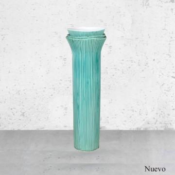 Jarron ceramica verde estriado