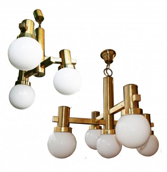 Italian Mid-Century Golden Brass Chandeliers, 1970s, Set of 2