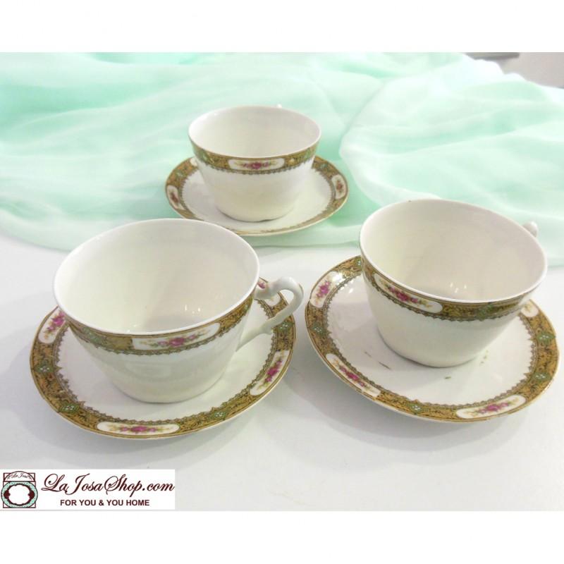 Limoges 3 tazas de cafe con plato de porcelana con historia for Tazas de porcelana
