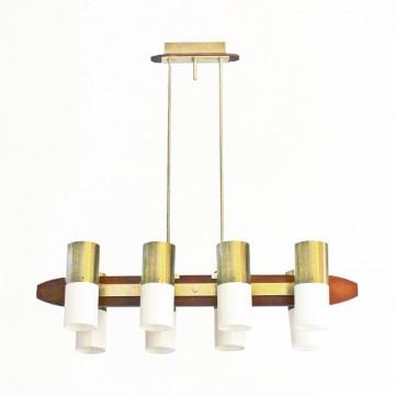 Lámpara dorada de techo con 8 luces -  60s