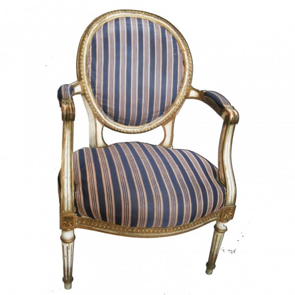 Louis XVI Armchair Late 18th or Early 19th Gilt & Cream Wood