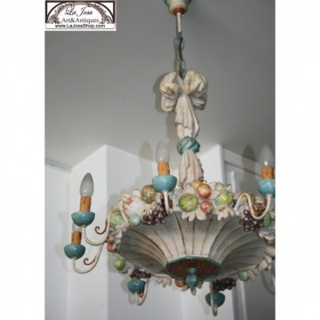 Italian wood fruits ceiling Lamp Della Robbia style