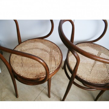 Pair of Cane and Bentwood Chairs after Thonet 209, 1940s