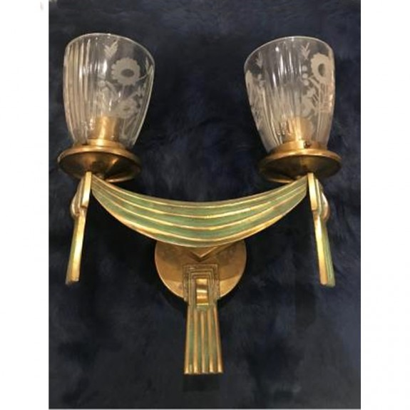 Art Deco bronze wall sconce with two lights