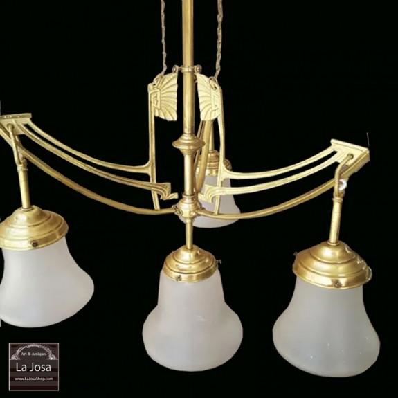 lámpara de techo Art Nouveau francesa con 3 brazos y 4 luces