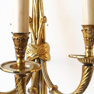 Pair of French Louis XVI Style (20th Cent) Bronze Dore 3 Arm Wall Sconces