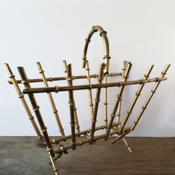 Gilded Metal Faux Bamboo Magazine Rack
